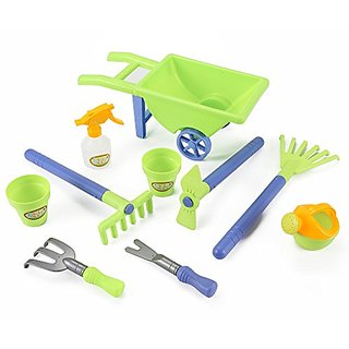 Little Gardener 10pc Toy Gardening Set with Pots, Water Pail and Wheelbarrow. Great for the beach!!