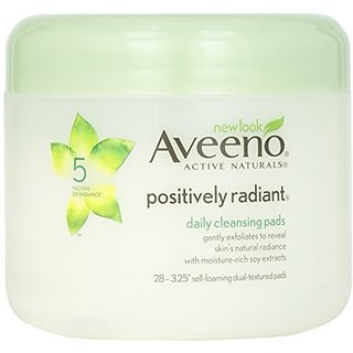 Aveeno, Cleansers Positively Radiant Daily Cleansing Pads Jar, 28 ct