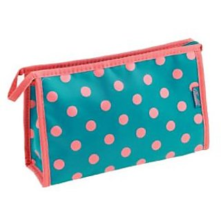 Ladies Zip Up Teal Pink Polka Dots Pattern Rectangle Cosmetic Bag Case