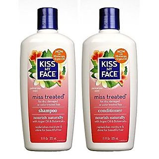 Kiss My Face All Natural Organic Miss Treated Shampoo and Conditioner for All Hair Types, 11 Fl. Oz. Each