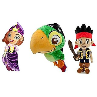 Disney Store Set of 3 Jake & the Neverland Pirates with Jake, Skully, and the Pirate Princess