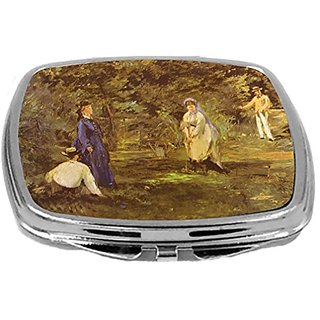 Rikki Knight Compact Mirror, Edouard Manet Art Croquet Party, 3 Ounce