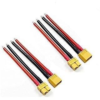 orlov 4 PCS XT60 Male Female 2x pair W-14 awg Silicone Wire 10 cm