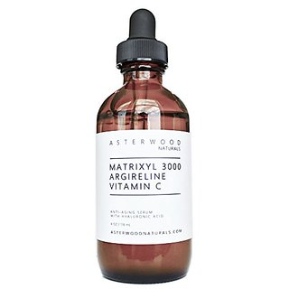 Matrixyl 3000 30% + Argireline 30% + Vitamin C 20% Serum with Organic Hyaluronic Acid 20% 4 oz - Reduce Sun Spots, Wrink