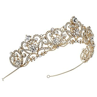 USABride Vintage Gold-Tone Rhinestone Crown, Crystal Regal Bridal Tiara 3173 G