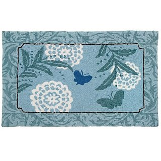 Homefires Accents Blue Butterfly Indoor Rug, 22-Inch by 34-Inch