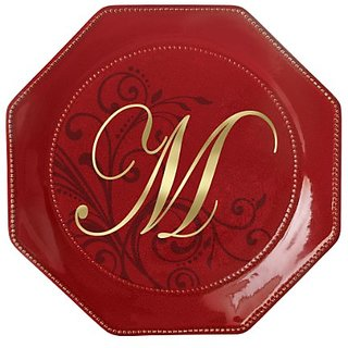 Grasslands Road toile 8-1/2-Inch Red Octaganol Monogram Initial M Accent Plate