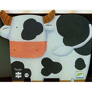 Djeco - Shaped Box Puzzle, The Cows on the Farm