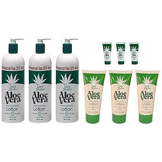 Triple Lanolin Aloe Vera Combo Hand & Body Lotion contains 3-20oz Bottle, 3-2.25oz & 3- .75oz Tubes