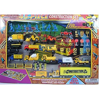 Construction Diecast Vehicles Playset with Street Signs, Figures, Playmat, Set of 45