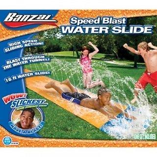 Banzai Water Slide Inflatable Kids Backyard Fun Play Center Summer Outdoor Pool Fun Swimming