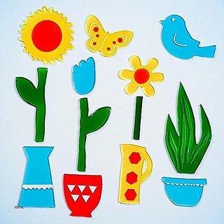 Design Ideas GelGems Window Clings, Potted Flowers, Large Bag