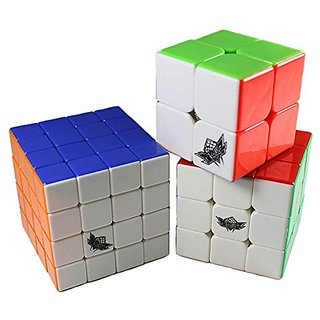 GoodPlay Cyclone Boys Mugua Bundle Pack,2x2x2,3x3x3,4x4x4 Speed Puzzle Cube Stickerless(save Lots of Money) +With Three