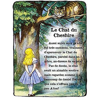 Beautiful 8x10 Alice in Wonderland Fine Art Color Print of Alice Meeting the Cheshire Cat. Featuring French Text From th