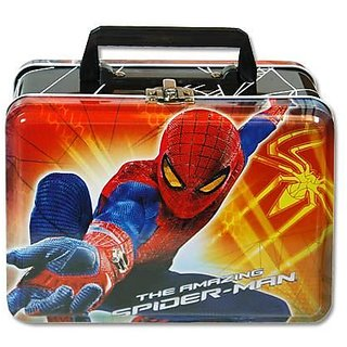 Lunch Box - Marvel - Spiderman - Metal Tin Case w Plastic Handle & Clasp
