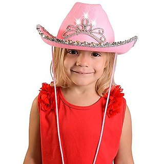 Pink Cowgirl Blinking Tiara Hat Childrens Size - Cowboy Flashing Tiara Costume Accessory