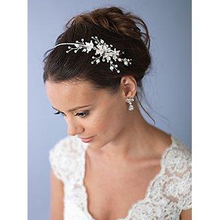 USABride Floral Bridal Headpiece Silver Tone Leaf Headband, Simulated Pearl Side 3160