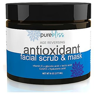 Organic & Natural Antioxidant Facial Cleanser, Exfoliating Scrub and Moisturizing Face Treatment Mask With Vitamin C, Hy