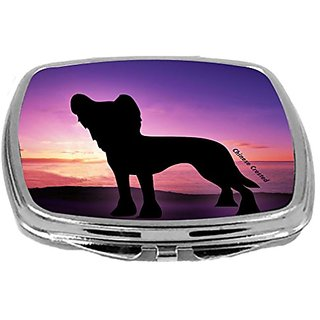 Rikki Knight Compact Mirror, Chinese Crested Dog at Sunset, 3 Ounce