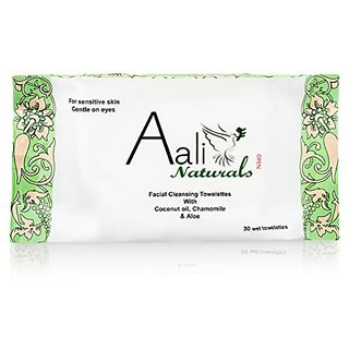 Facial Cleansing Towelettes with Coconut Oil, Chamomile & Aloe- 30 Count (Pack of 2)