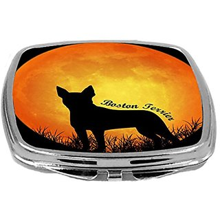 Rikki Knight Dog Silhouette by Moon Design Compact Mirror, Boston Terrier2, 3 Ounce