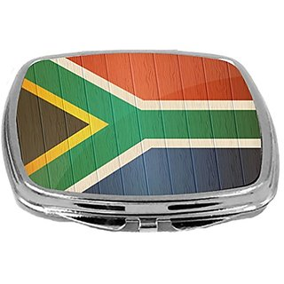 Rikki Knight Compact Mirror on Distressed Wood Design, South Africa Flag, 3 Ounce