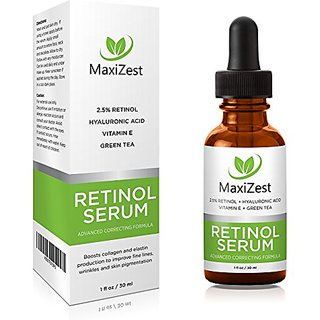 MaxiZest Retinol Serum 2.5% - With Hyaluronic Acid, Vitamin E & Green Tea - Our Best Anti Aging & Anti Wrinkle Serum for