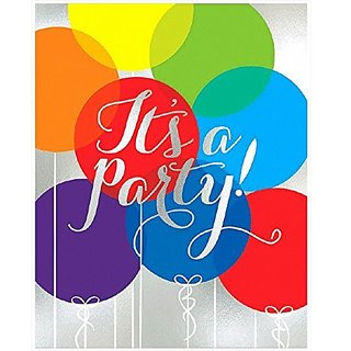 Amscan Balloon Party Large Novelty Invitation Cards (Pack of 8), Multicolor, 6