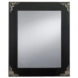 Prinz Palais Mirror with Black Solid Wood Border and Black Nickel Metal Accents, 9.63 by 7.63-Inch
