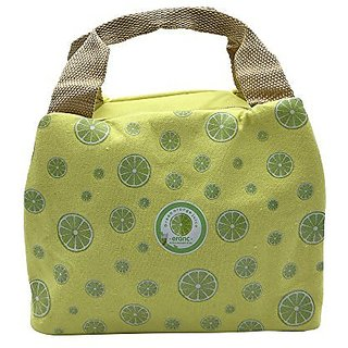8647ba4c4b93 Mziart Summer Fruit Canvas Lunch Bag Tote Insulated Bento Cooler Bag for  Travel and Picnic (Lemon)