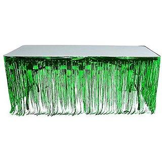 Green Metallic Foil Fringe Table Skirt 144