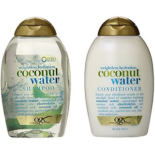 OGX Weightless Hydration Coconut Water Shampoo & Conditioner, 13 Ounce (Combo Set)