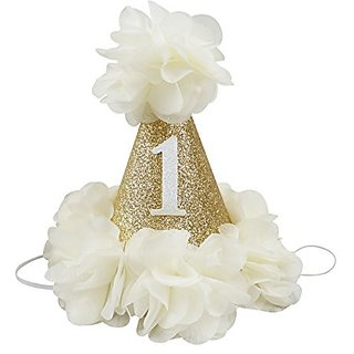 PoshPeanut Beautiful Baby Crown Headband Princess First Birthday Cone Hat Sparkle Ivory Made In The USA