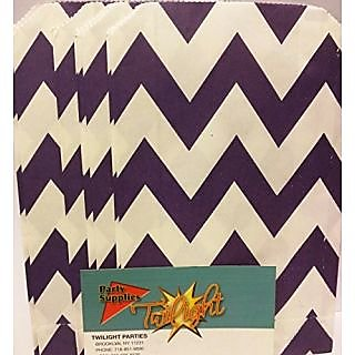 Chevron Stripe PURPLE Food Treat & Favor Paper Bags 24Pk 5X7 - Twilight Parties