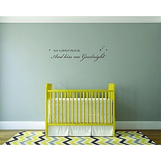 Design with Vinyl Moti 2495 1 Decal - Peel & Stick Wall Sticker: Say A Sweet prayer & Kiss Me Good Night Quote Kids Teen