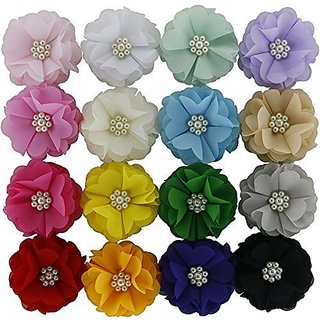 QingHan 16pcs Baby Girl Chiffon Flowers Hair Lined Clips For Girls Teens Kids Women