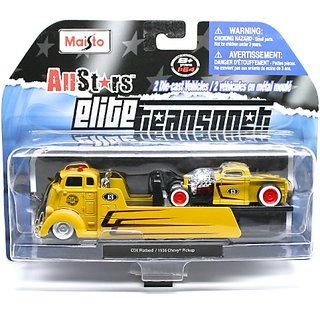 COE Flatbed (Yellow) - 1936 Chevy Pickup (Yellow) Elite Transport 2013 Maisto All Stars 1:64 Scale Die-Cast 2 Vehicle Se