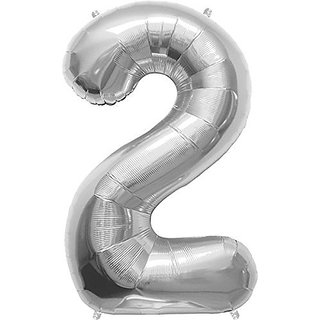 Silver Number 2 Foil Balloon