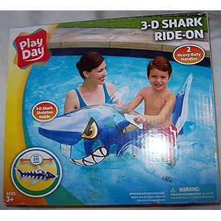 3-D Shark Ride-On - 5 feet Long (Approx Inflated Size: 64.5In W x 36.5 In D x 20.5 In H).