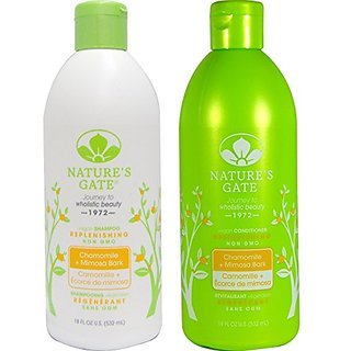 Natures Gate Replenishing Shampoo and Natures Gate Replenishing Conditioner Bundle With Chamomile and Mimosa Bark, 18 fl