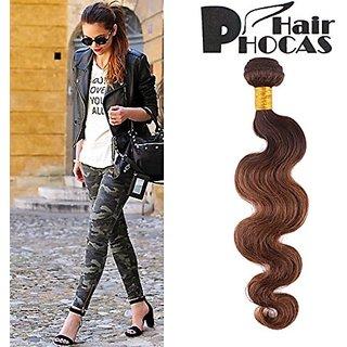 HairPhocas 100% Brazilian Ombre 3-tone Human Hair Weave T4/10/30 Dark Brown To Medium Auburn Hair Extensions Color Dip D