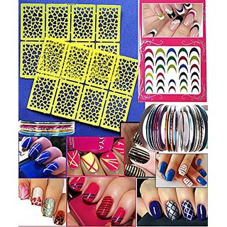 Buy Nail Art Stencil Decoration Kit Colorful 3d Decals Heart