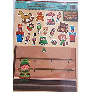 Holiday Elf Reusable Window Cling Toy Soldier Toy Shelf