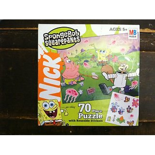 SPONGEBOB SQUAREPANTS 70 PIECE PUZZLE WITH REUSABLE STICKERS FOR AGES 5+ BY HASBRO & MB PUZZLE