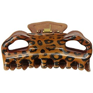 Caravan Rounded Teeth Hearty Opening Design With Hand Painted Leopard Design Hair Claw
