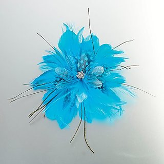 Lillian Rose Feather Hair Clip, 6-Inch, Aqua