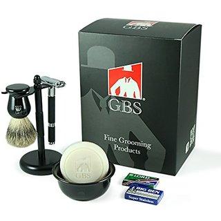 GBS 5 Piece Shaving Set - Black Rubber Coated Safety Razor, Ceramic Bowl, GBS Driftwood Soap, Pure Badger Brush, Brush &