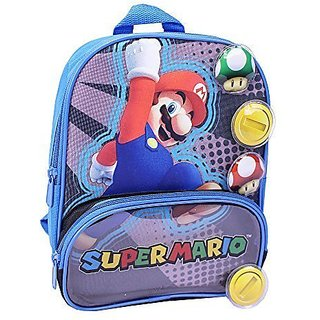 Mario 10 inch Mini Backpack with VELCRO brand closure Play Pieces