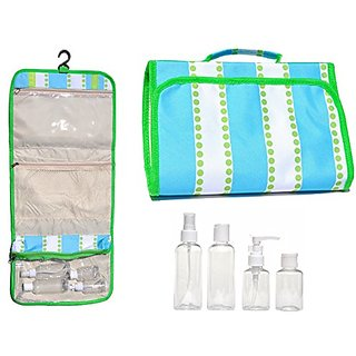 Large Green Blue Hanging Travel Makeup Toiletries Cosmetic Bag Case Organizer with 4 Pack Travel Size Bottle Set Gift Id