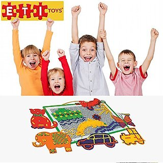 ETI Toys - Lace and Pegs Kit for Boys and Girls 368 Piece set for Making Endless Creative Combinations! Great for Learni